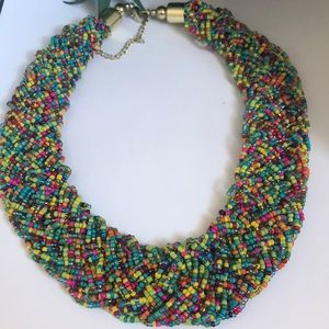 Jewelry - Vintage rainbow seed bead woven necklace